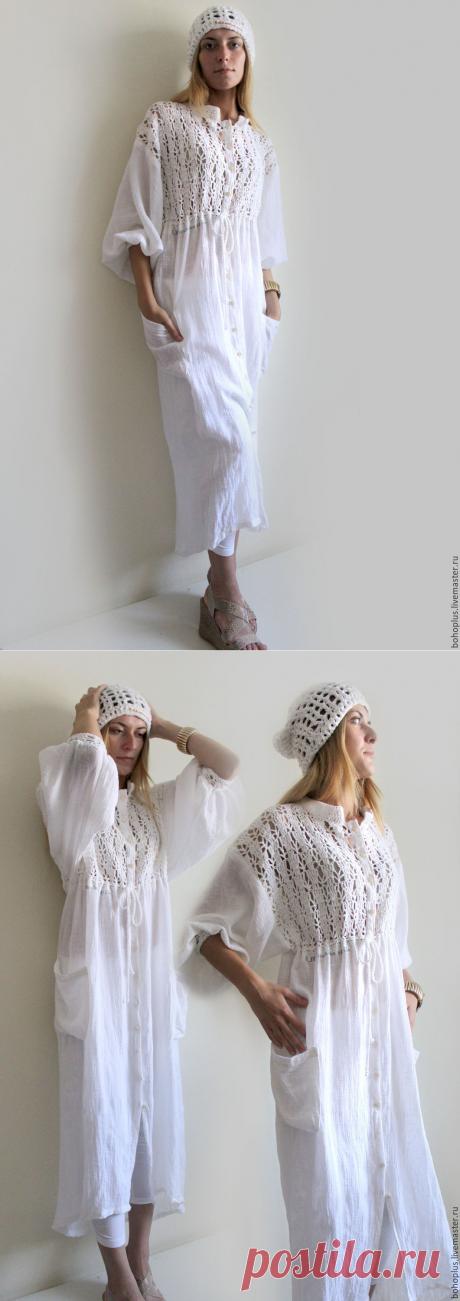"""Купить Летнее пальто """"Облака в небе"""" - белый, однотонный, бохо, Бохо платье, плащевая ткань"""