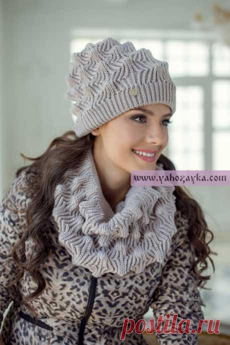 Комплект шапка снуд спицами схема. Модный зимний комплект: шапка и шарф спицами | Я Хозяйка