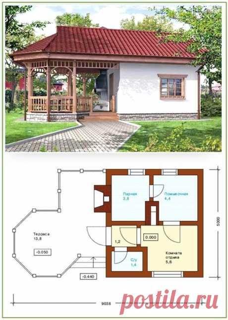 Проект бани с верандой под общей крышей