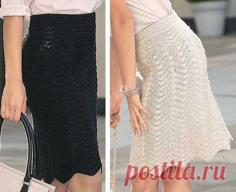 Вяжем деловую юбку Прекрасная деловая юбка с фигурным краем хорошо смотрится в любом цветовом варианте.