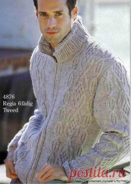 Мужская куртка спицами.