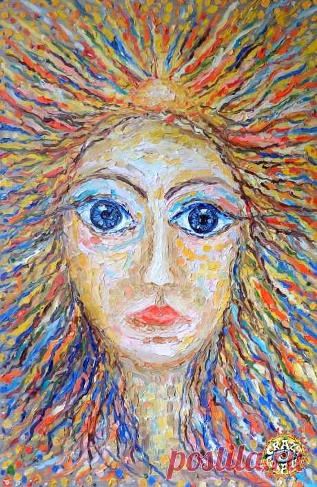 """Древняя Душа / Pristine Soul "" canvas / oil 65 x 100 cm (N. Boundariver) к альбому CRAZY COMPASS planet band - Древо Жизни / Life Tree"