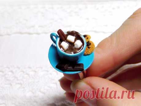 Подарок своими руками из полимерной глины: Кольцо «Чашка горячего шоколада»
