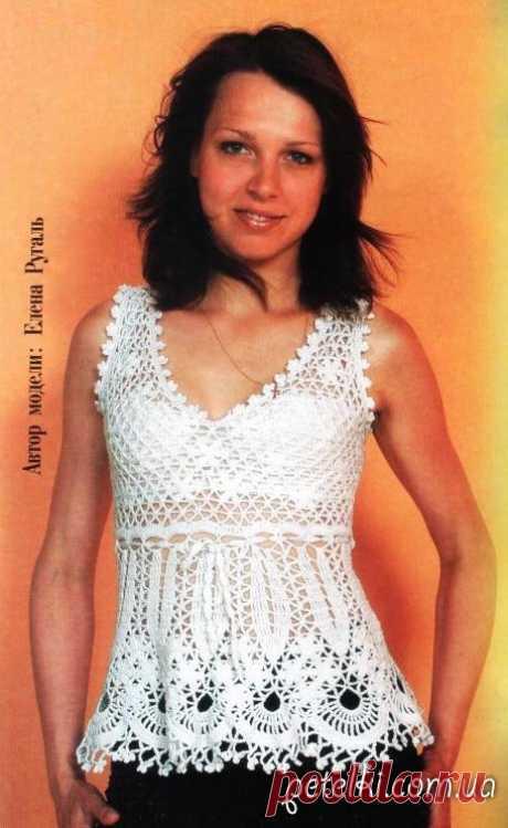 Нежная белая блуза без рукавов крючком. Описание, схемы