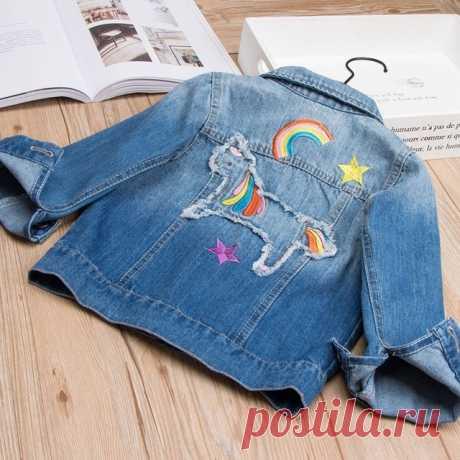 Baby Girls Abrigos de mezclilla Rainbow Unicorn Bordado Jeans Chaquetas para niñas Niños Chaquetas de mezclilla Ropa de abrigo para niños Chaqueta de otoño F-Js5