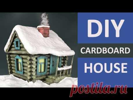 Рождественский деревенский домик из картона