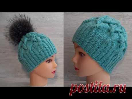 ШАПКА СПИЦАМИ которая ВСЕМ ПОДХОДИТ! ПЫШНАЯ ТЕПЛАЯ зимняя шапка с узором КОСА и  красивым краем!