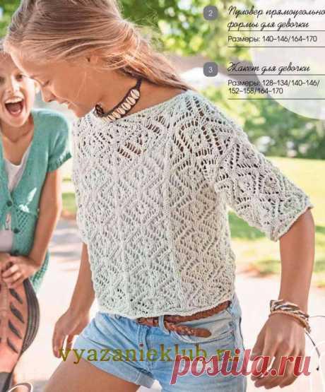 Кофточка для девочек подросткового возраста выполнена несложным ажурным узором хлопчатобумажной пряжей - отличный вариант для летнего отдыха
