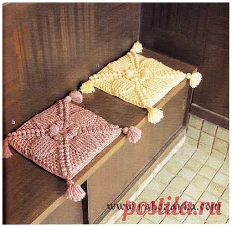 Коврик на табурет крючком. Схема вязания накидки на стулья Коврик на табурет крючком. Схема вязания накидки на стулья