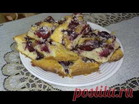 Пирог Со Сливами ,  с влажным и нежным мякишем