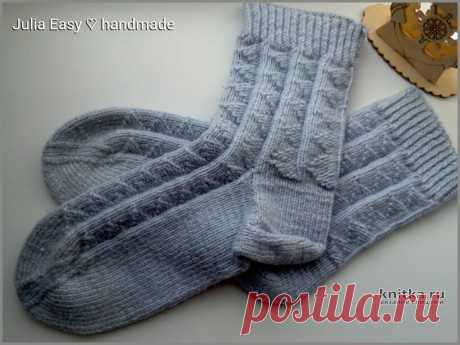 Мужские носки спицами с теневым рисунком. Работа Julia Easy, Вязание для мужчин