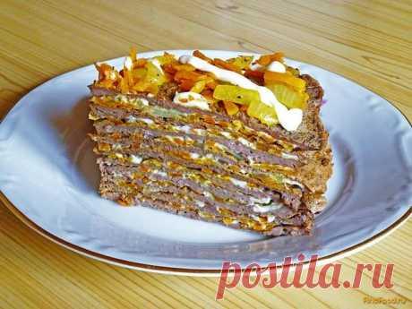 Закусочный торт из печени рецепт с фото