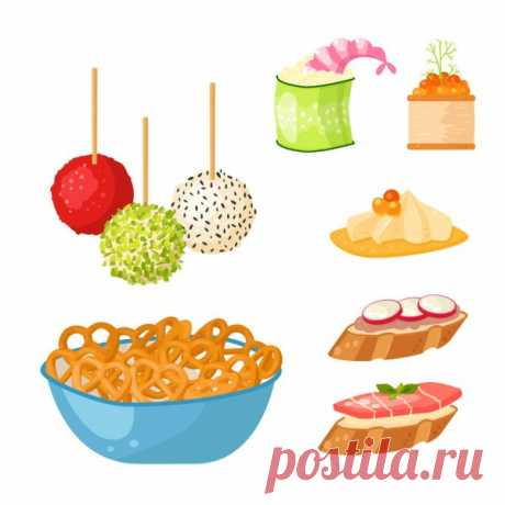 В одной серии с 148391249 Various meat canape snacks appetizer fish and cheese banquet snacks on platter vector illustration.