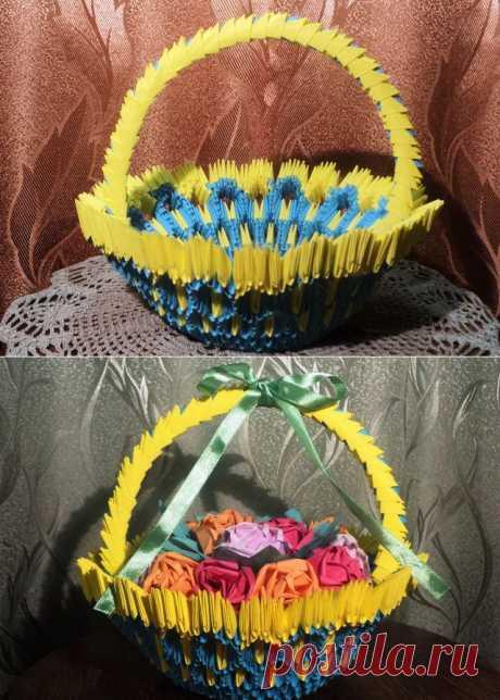 Схема сборки корзины модульное оригами. - Бумажные фантазии