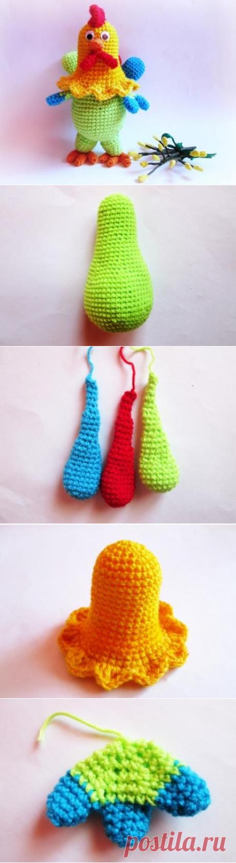Петух крючком, описание и пошаговые фото вязания амигуруми | Амигуруми - описание вязания крючком