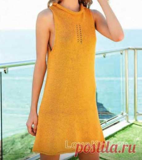 Платье без рукавов платочной вязкой схема спицами » Люблю Вязать