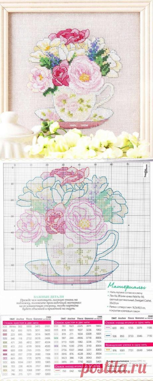 Вышивка крестом цветы в чашке. Схема вышивки цветы в чашке | Вязание для всей семьи