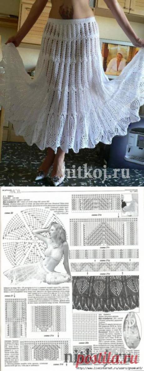 La falda blanca por los rayos »por el Hilo - las cosas tejidas para su casa, la labor de punto por el gancho, la labor de punto por los rayos, el esquema de la labor de punto