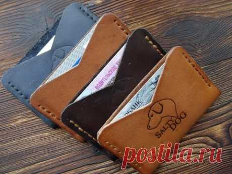 Work with skin. A product for beginners. Leather cardholder