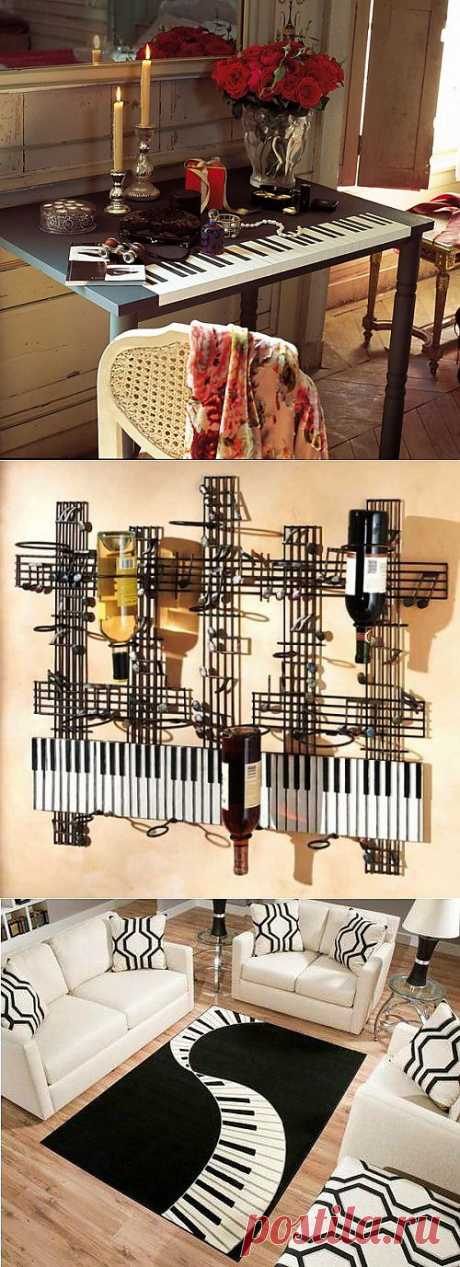Чёрный верх, белый низ. Декор интерьера в виде фортепианных клавиш | МОЯ КВАРТИРА