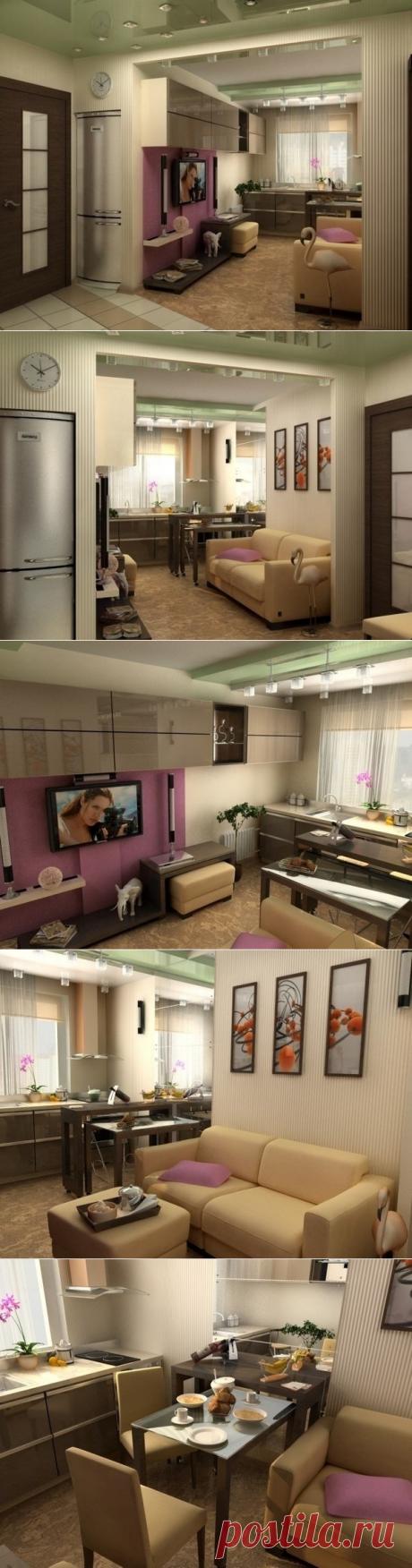Интерьер гостиной и кухни в маленькой квартире - Дизайн интерьеров | Идеи вашего дома | Lodgers