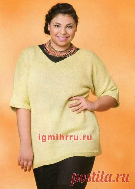 Для пышных дам. Хлопковый пуловер цвета лайма. Вязание спицами