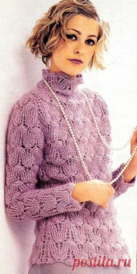 Милый и элегантный лиловый свитер крючком