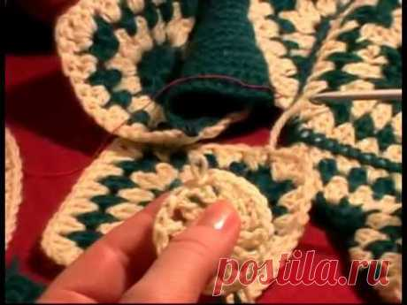 6 Урок Вязание крючком тапочек. Тапочки крючком. slippers crochet tutorial #knitting #crochet