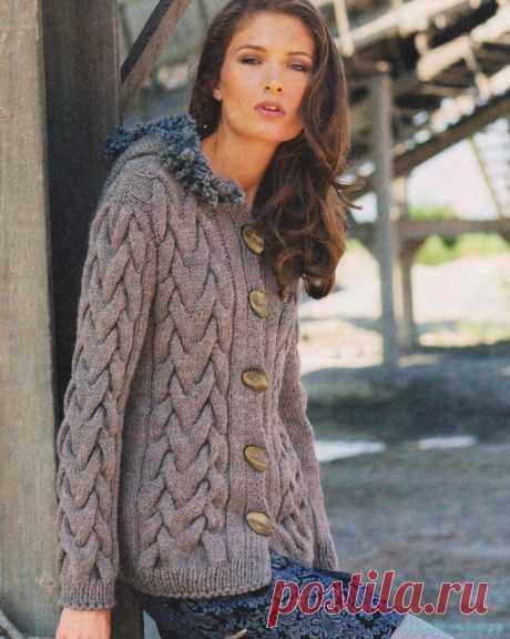 Красивое вязание   Серый жакет спицами