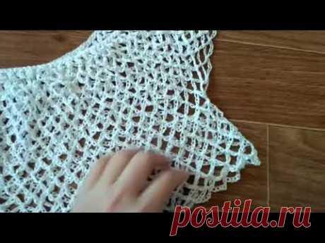 Пляжное платье крючком. Вязание длины. Особенности сетки.