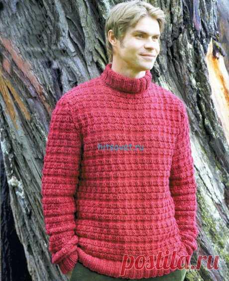Мужской свитер спицами.