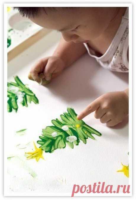 Рисование пальчиком ёлочки