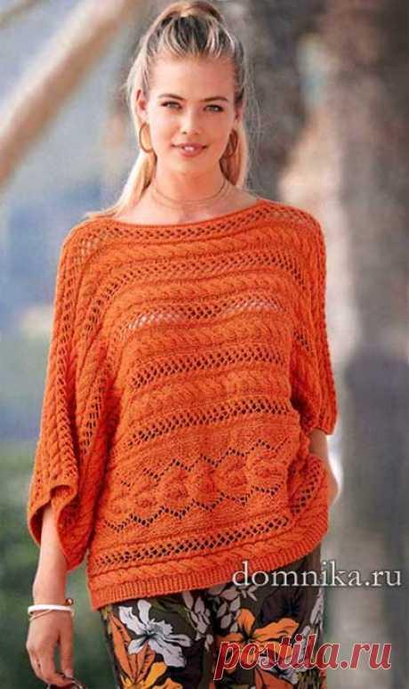 Женский вязаный пуловер с косами из хлопка схемы вязания и описание бесплатно