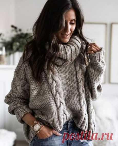 Пуловер с косами изнаночной гладью спицами - Cтильное вязание Пуловер связан изнаночной гладью спицами с узором объемные косы