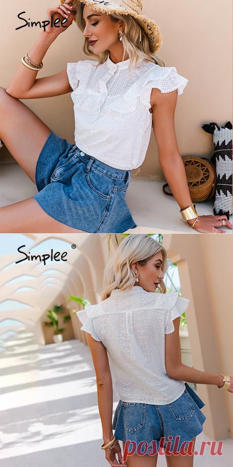 Simplee элегантная повседневная однотонная кружевная женская блузка с оборками Весенняя рубашка с вышивкой на пуговицах и воротником