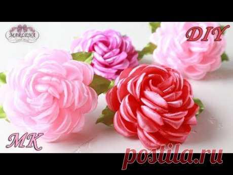 Цветы из лент 🌹 Роза МК/DIY Ribbon Roses - YouTube