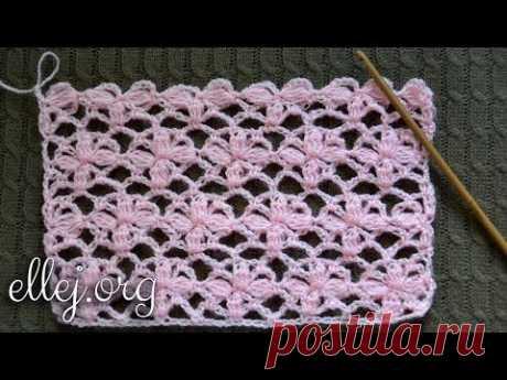 Цветочный узор крючком Нежность. Tender Flower Crochet stitch. Posy Arcade - YouTube