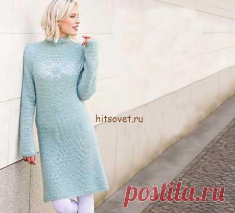 Красивое платье крючком - Хитсовет Красивое платье крючком. Новинка модной модели платья с цветочными мотивами со схемами и бесплатным описанием вязания. Вам потребуется: 450 (500) грамм нежно-голубой пряжи, состоящей из 72% мохера, 21% нейлона, 7% полиэстера; длиной нити 127 метров 25 граммах; крючок № 5.