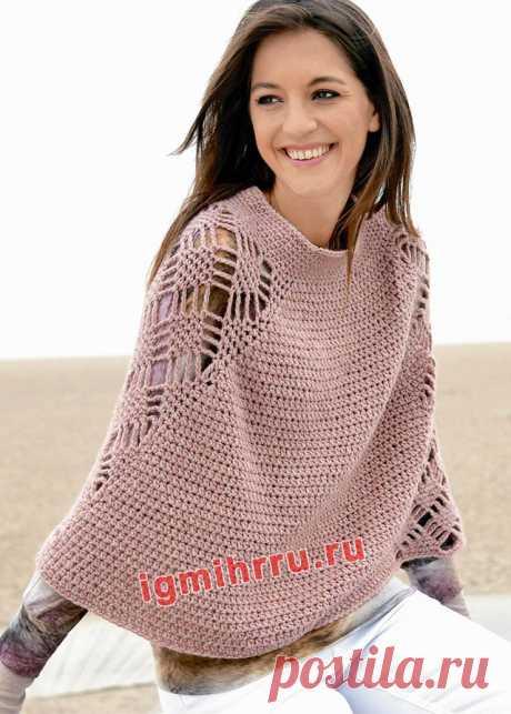 Тёплое пончо с ажурными вставками. Крючком. / igmihrru.ru