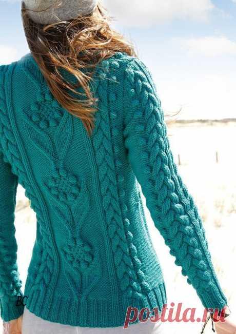 Пуловер красивым узором спицами. Пуловер спицами рельефным узором | Handmade24