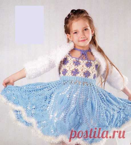 Платье узором Ананас для девочки 5-6 лет. Летнее платье крючком узором ананас для девочки