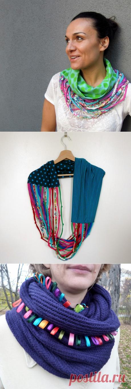 Трикотажные шарфики и декор футболок