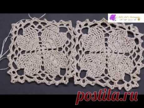 Cuadro Crochet Flor 4 Corazones