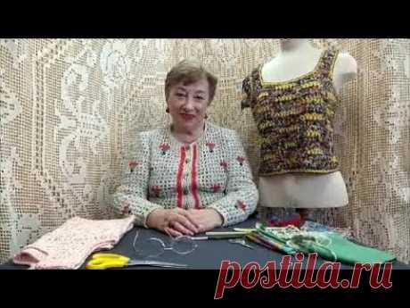 Топик из полосок шёлковой ткани. Мастер-класс по вязанию крючком от О. С. Литвиной.