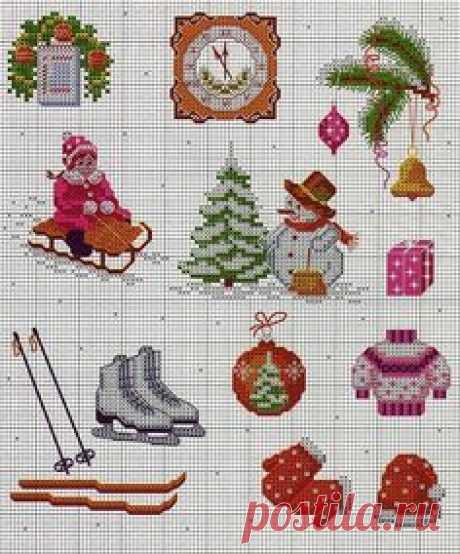 Традиционная схемы вышивок крестиком бисером к нг и Рождеству