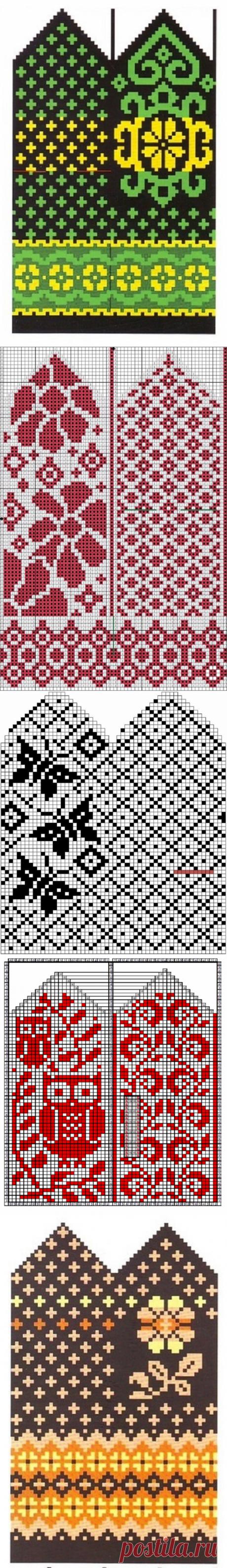Вяжем спицами варежки: 15 жаккардовых узоров | Рукоделие с Татьяной Н | Яндекс Дзен
