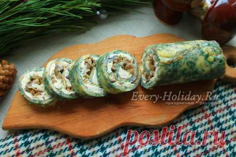 Рулет из омлета с грибами и сыром, рецепт с фото