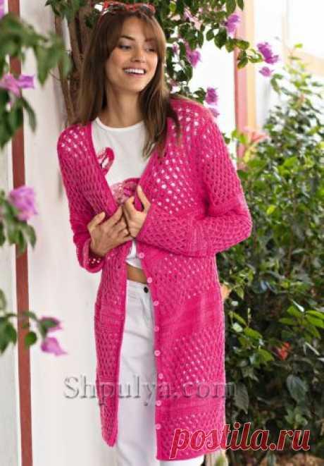 Ажурный кардиган розового цвета - SHPULYA.com