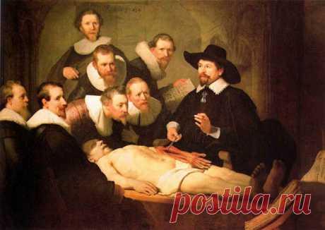 Урок анатомии - Рембрандт. 1632. Это был первый крупный заказ, полученный Рембрандтом после переезда в Амстердам. На полотне (1632) запечатлено вскрытие, проведенное доктором Николасом Тульпом. Выделяющийся простым воротником, широкополой шляпой и ясным, открытым взглядом, Тульп держит щипцами сухожилия руки; другой рукой он показывает, как сухожилия сгибают пальцы — основные инструменты художника и хирурга.