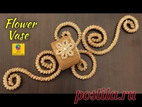 DIY Wall Hanging Flower Vase Showpiece   Flower pot Using Jute Rope   Wall Decor Jute Craft Idea